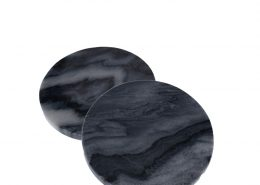 4801 Bel Air Grey Marble Round 4 Coasters, Set of 4 with black leather twine top